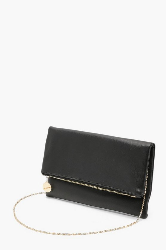 Foldover Clutch With Chain Foldover Clutch With Chain by Boohoo