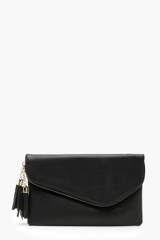 Womens Black Foldover Double Tassel Clutch