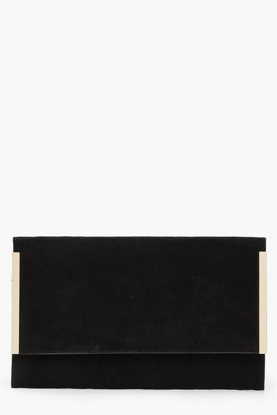 Womens Black Side Bar Suedette Envelope Clutch