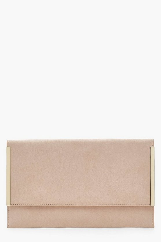 Side Bar Suedette Envelope Clutch