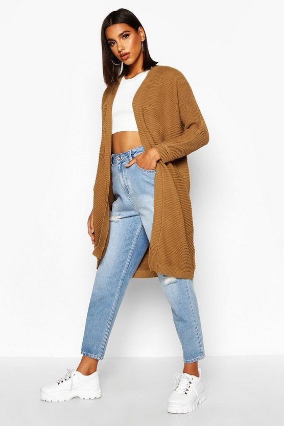 Womens Camel Cocoon Oversized Rib Knit Cardigan