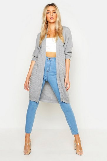 Womens Grey Cocoon Oversized Rib Knit Cardigan