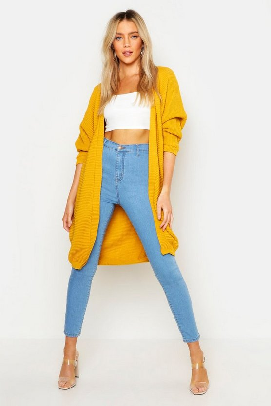 Cardigan cocoon oversize in maglia a coste, Mustard, Femmina