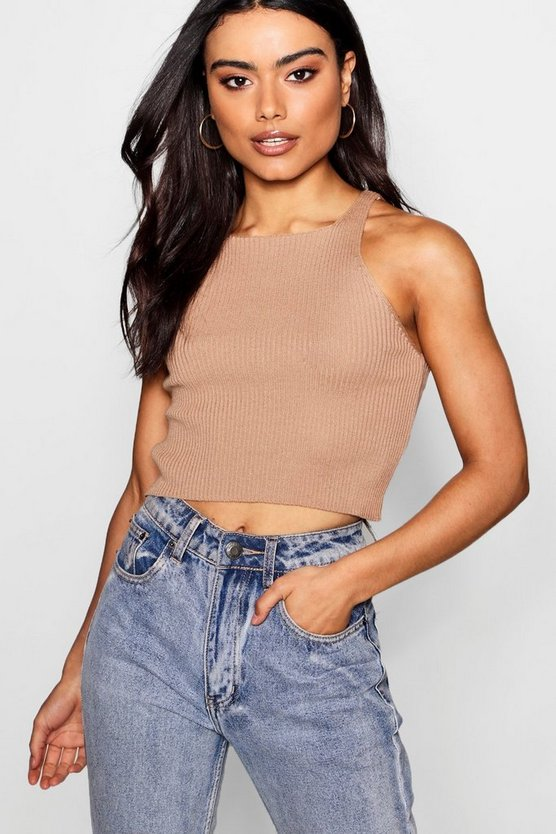 Fine Gauge Rib Knit Crop Top