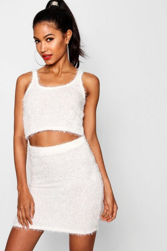Fluffy Knitted Crop Top Knitted Mini Skirt Set