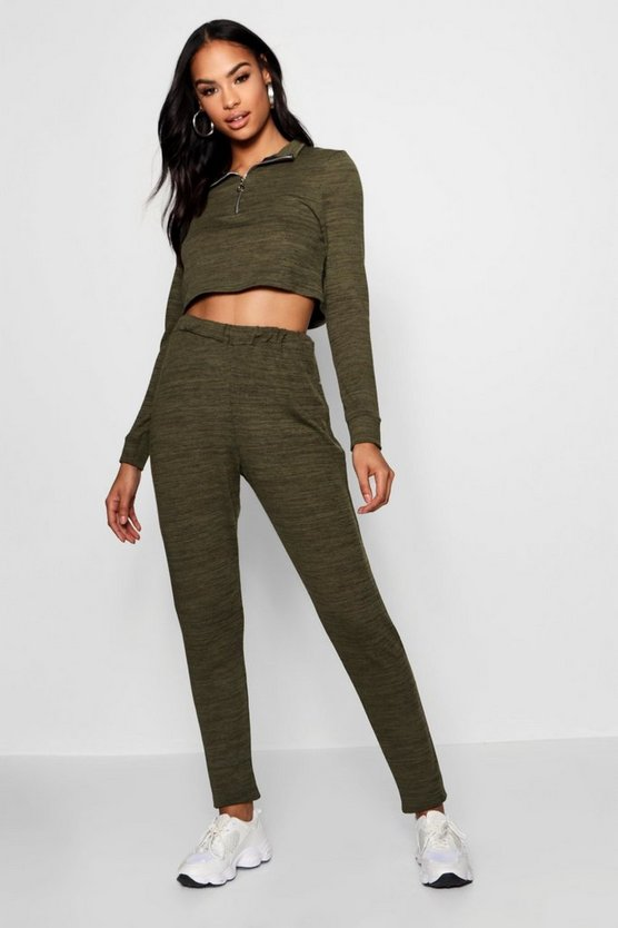 Funnel Neck Zip Crop Knitted Co-ord