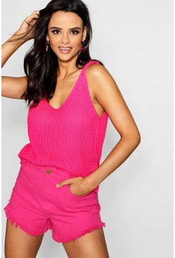 Womens Neon-pink Knitted Cami