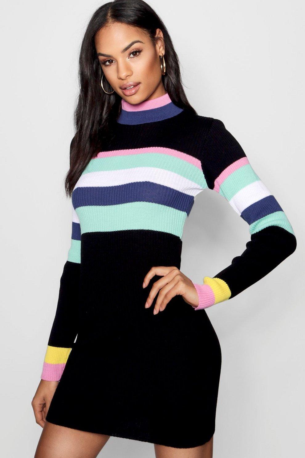 f00d8d44fef8 Stripe Rib Knit Dress   Boohoo