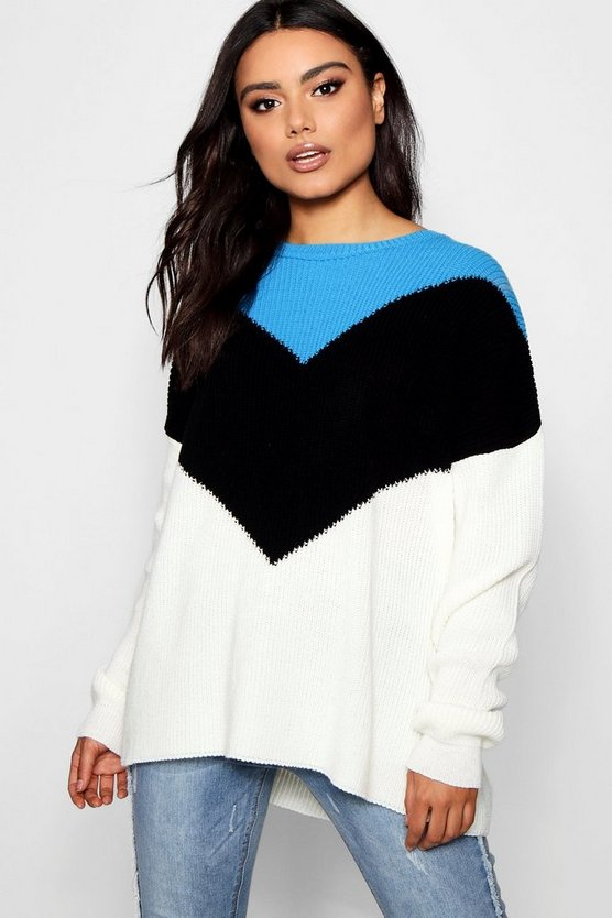 Chevron Colour Block Jumper