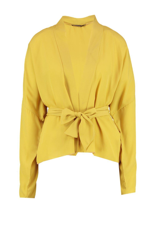 mostaza chifón cinturón Kimono de con RI5xBqqFw