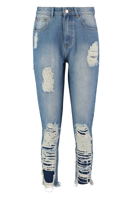 denim en mamá estilo Jeans desgastados azul medio Zz67xqwv