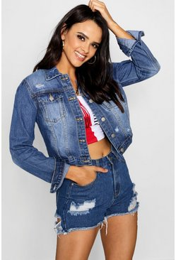 Womens Mid blue Distressed Cropped Denim Jacket