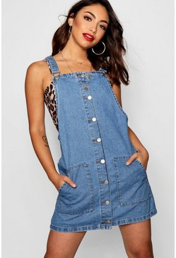 Womens Mid blue Andrea Button Front Denim Pinafore Dress
