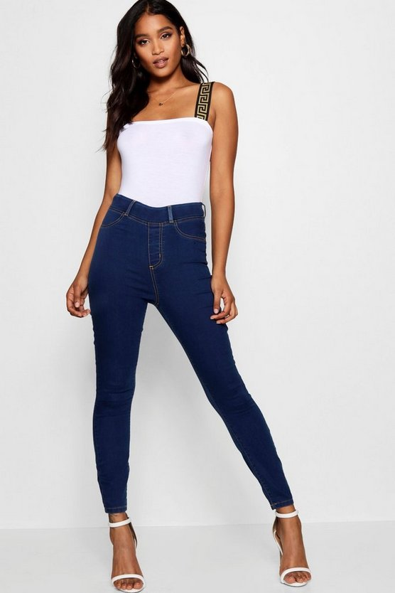 Womens Mid blue Pull On Jeggings