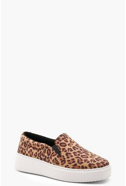 Womens Brown Leopard Platform Skaters