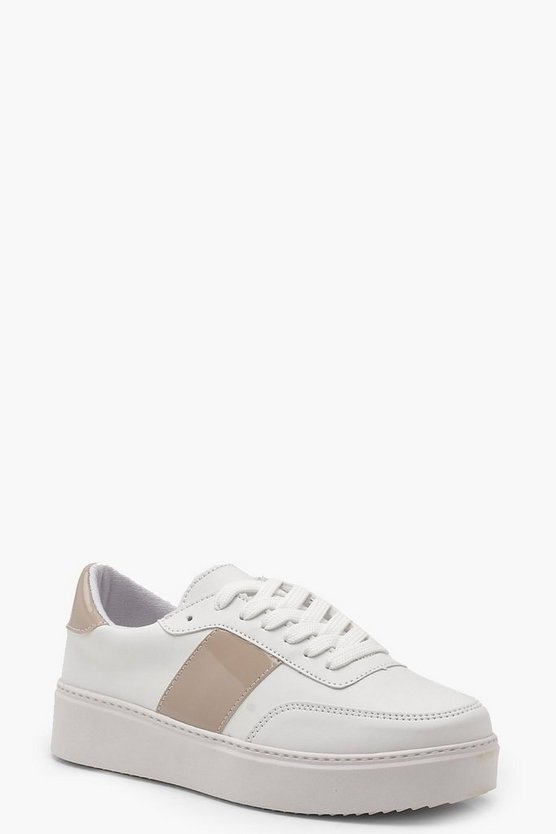 Womens Nude Retro Style Platform Trainers