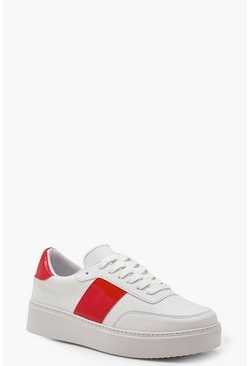 Womens Red Retro Style Platform Trainers