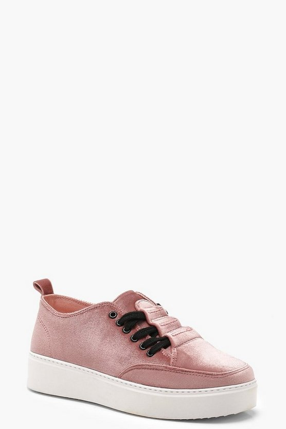 Womens Blush Velvet Lace Up Trainers