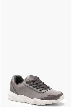 Womens Grey Chunky Sole Trainers