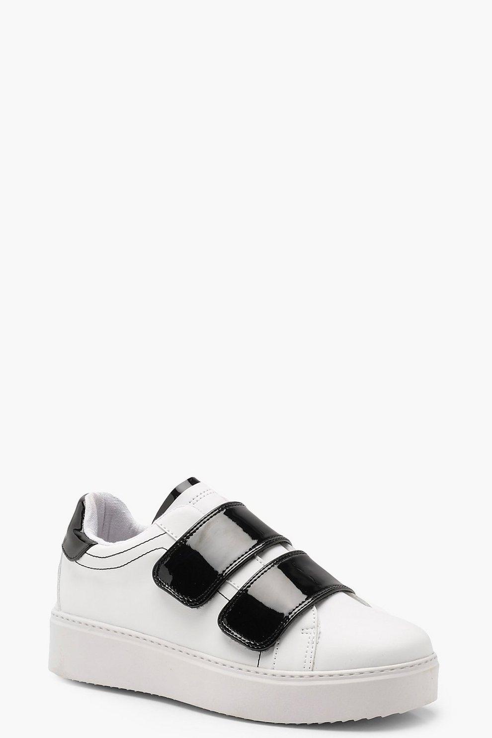 c61dadaa6 Zapatillas deportivas con plataforma y tiras de velcro | Boohoo