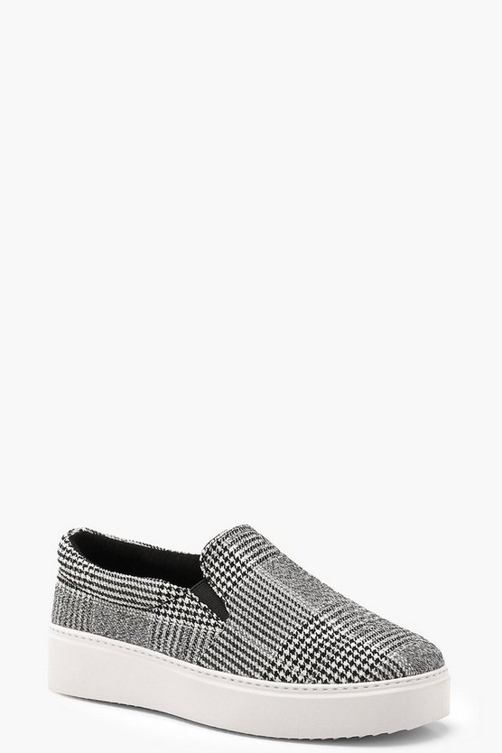 Womens Black Check Platform Skaters