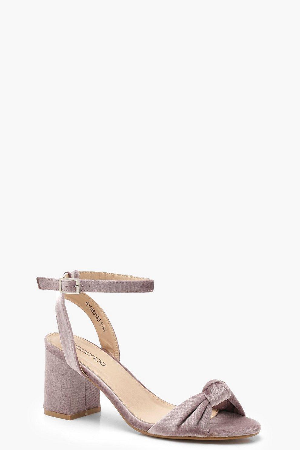 d24e3b1f195 Knot Front Velvet Block Heels
