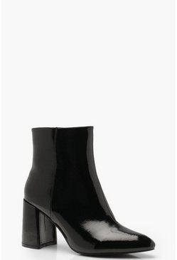 Dam Black Block Heel Pointed Shoe Boots