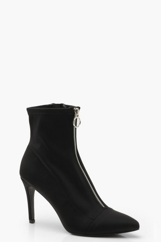 Womens Black Zip Front Sock Boots