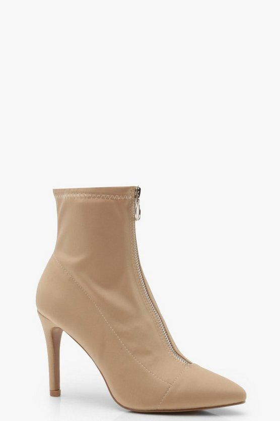 Womens Camel Zip Front Sock Boots