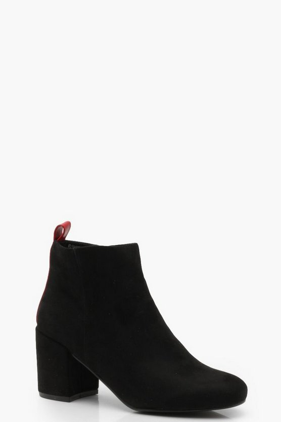 Contrast Back Block Heel Shoe Boots