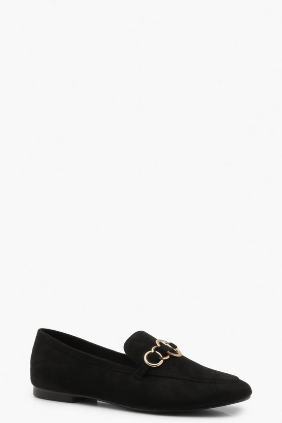 Womens Black Ring Detail Loafers
