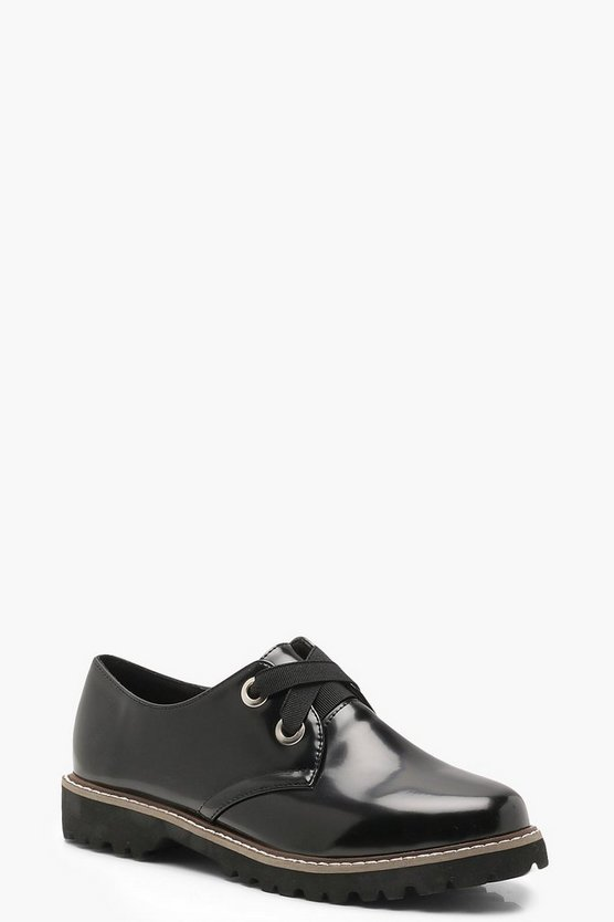 Womens Black Chunky Cleated Sole Brogues