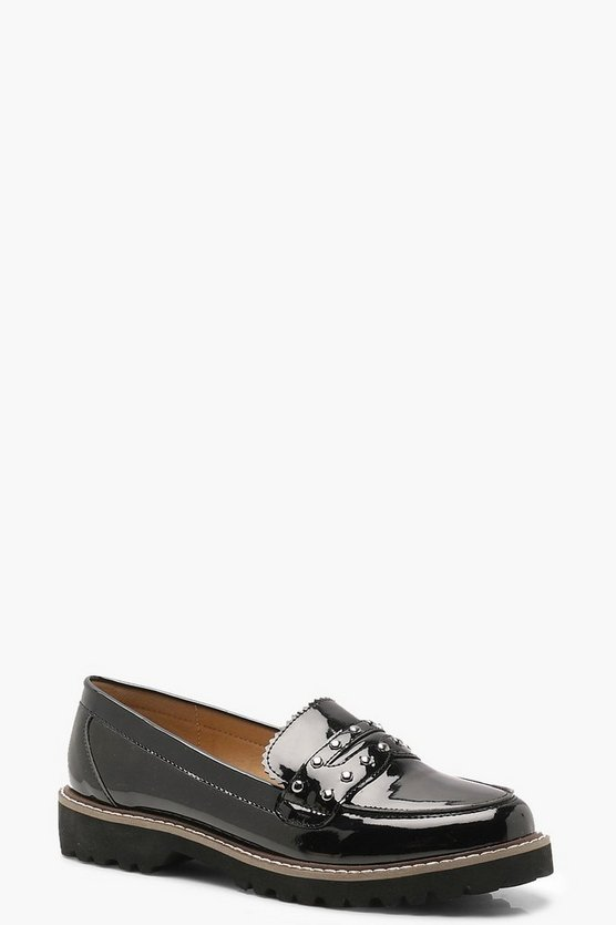 Cleated Chunky Sole Stud Loafers