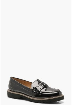 Womens Black Cleated Chunky Sole Stud Loafers