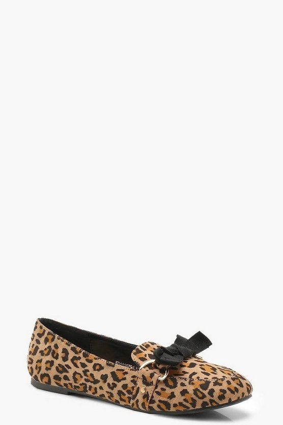 Bow Trim Leopard Slipper Ballets