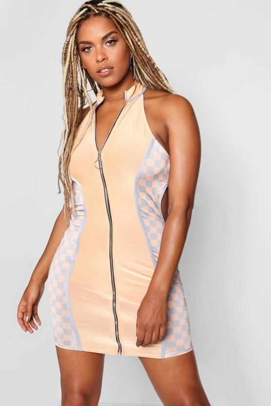 Womens Apricot Zip Through Cut Out Dress