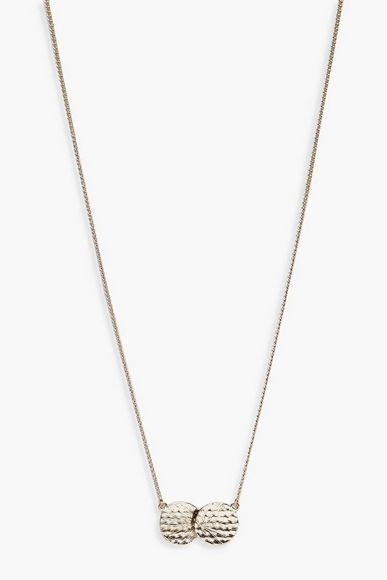 Double Hammered Coin Skinny Necklace