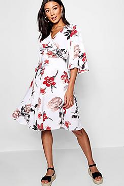 Flare Sleeve Wrap Front Skater Dress