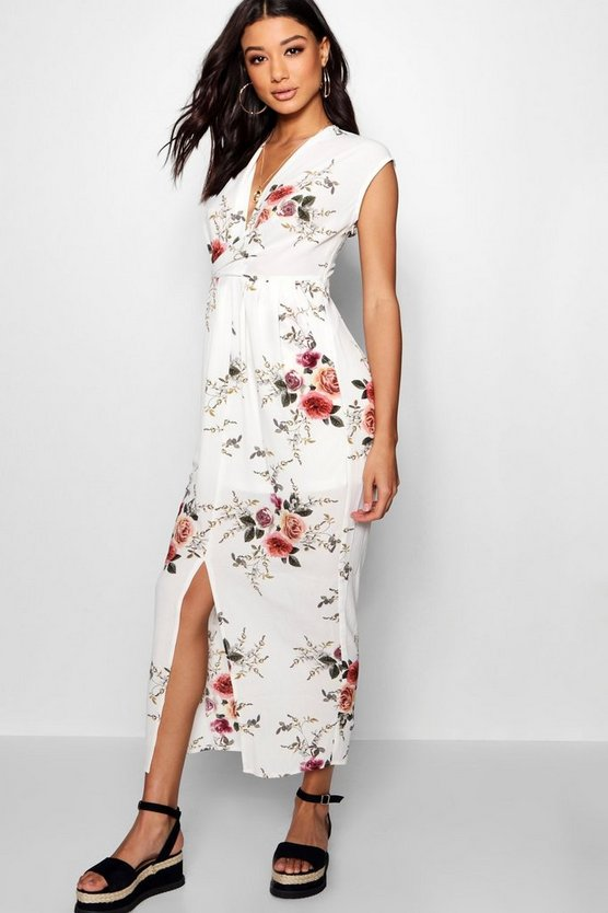 Womens Cream Pocket Side Front Split Floral Maxi Dress