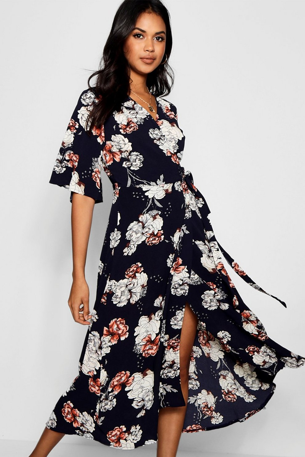 ab740047b89a Flare Sleeve Wrap Front Floral Maxi Dress | Boohoo