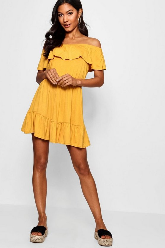 Womens Mustard Off The Shoulder Ruffle Skater Dress