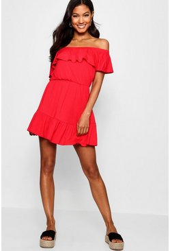 Womens Red Off The Shoulder Ruffle Skater Dress