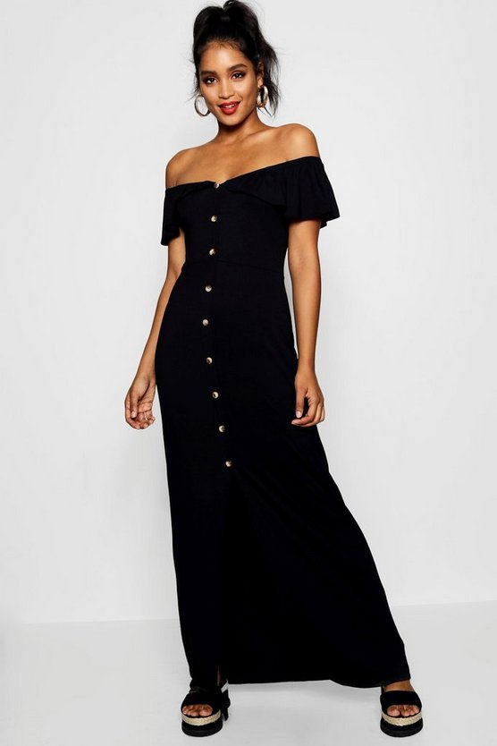 Womens Black Off The Shoulder Button Front Maxi Dress