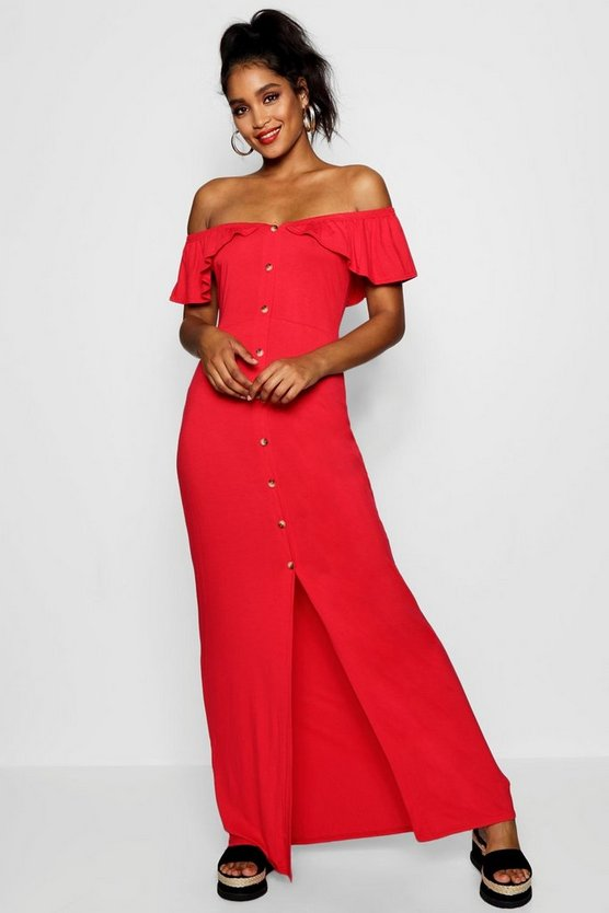 Off The Shoulder Button Front Maxi Dress