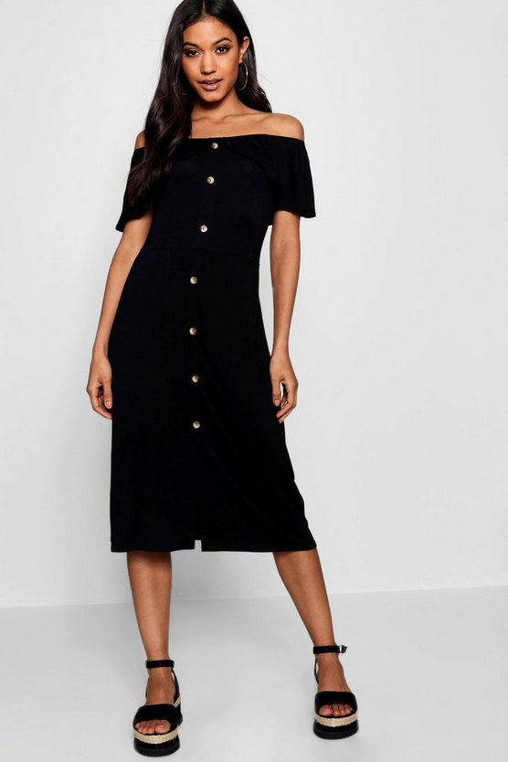 Womens Black Off The Shoulder Button Midi Dress