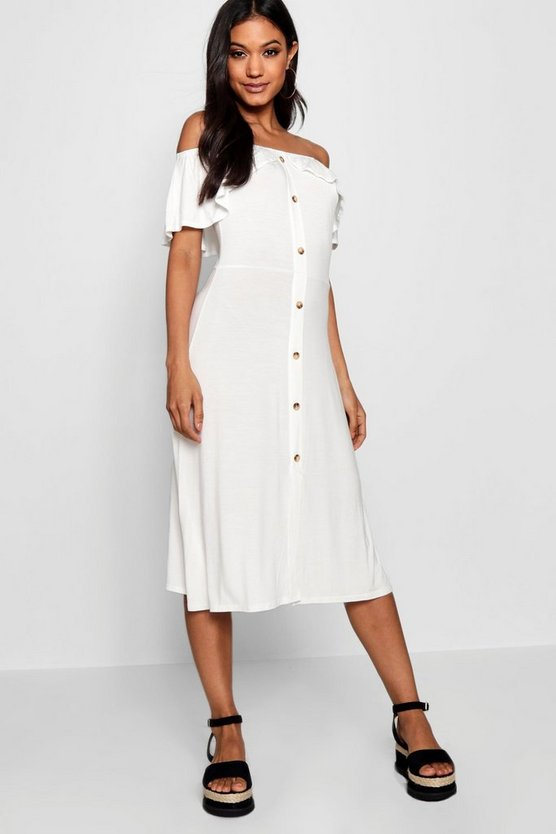 Womens Cream Off The Shoulder Button Midi Dress