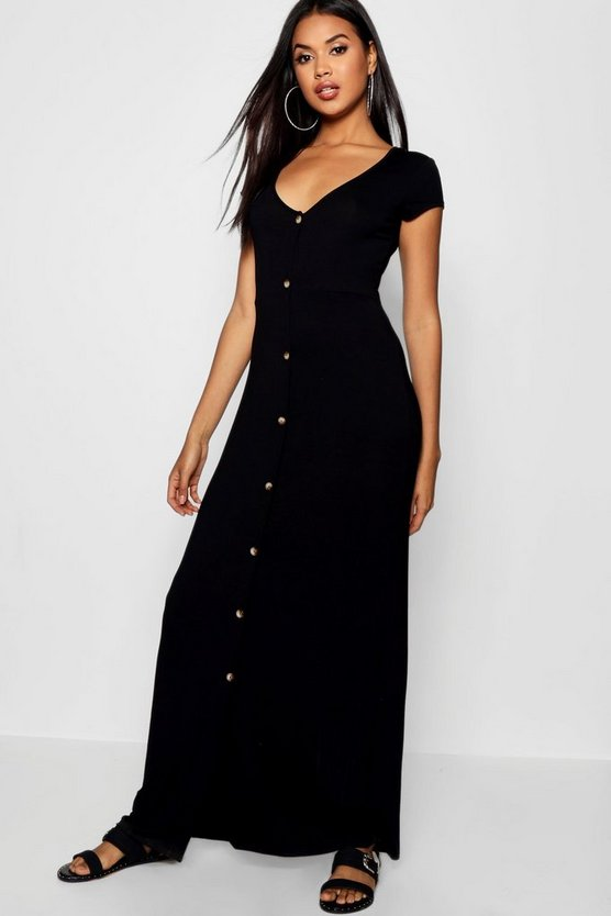 Womens Black Button Through Split Maxi Dress
