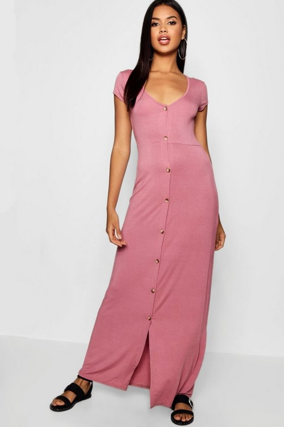 Button Through Split Maxi Dress