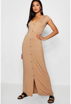 Womens Sand Button Through Split Maxi Dress