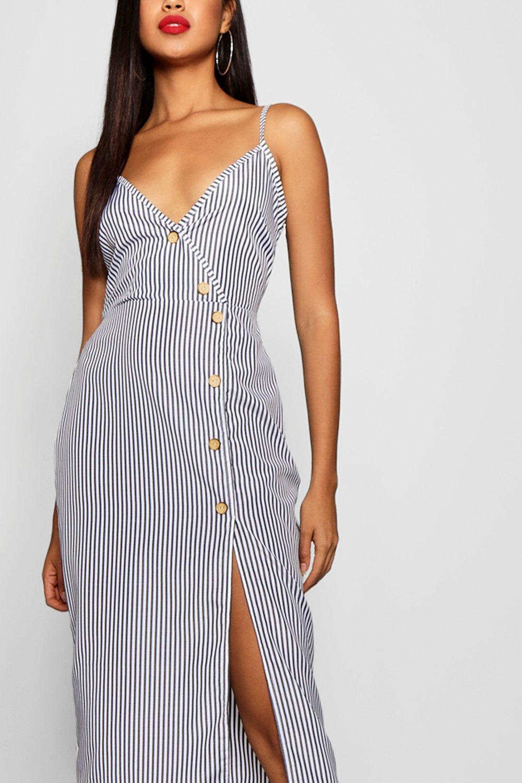f4f53572ea28 Boohoo Womens Katy Woven Stripe Button Detail Midi Shift Dress
